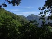 途中眺めた小朝日岳から熊越へ急な鞍部