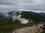 雪渓から立ち上る水蒸気