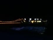 新穂高無料駐車場の夕闇の川沿い