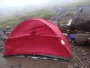 悩んだ末に設営したテント場所