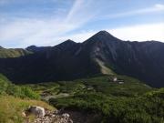 鷲羽岳、ワリモ岳、水晶岳と続く稜線を眺望