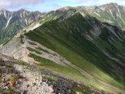 縦走路の右端が水晶岳、左端が鷲羽岳?