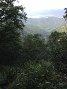 大凪山後の急下り途中で市街地眺望