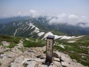 曇り始めた以東岳から先の縦走路