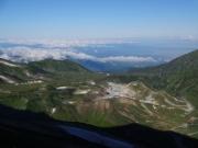 大汝山縦走路から室堂、雷鳥沢、富山市内遠望