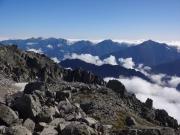 大汝山山頂から後立山眺望(右から鹿島槍、五竜等)