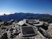 雄山から南方面眺望(右奥から薬師、黒五、笠、槍等)