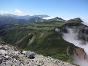 獅子岳から五色ヶ原へ急下りと越中沢・薬師へ縦走路