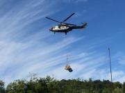 山小屋に荷物を運搬するため折立からヘリ離陸