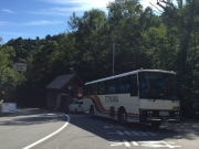 折立から有峰口駅に向かうバスに乗車