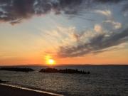 入善町・園家山キャンプ場の海岸の夕陽