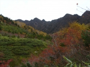大地獄谷から鬼ヶ城と紅葉を眺望