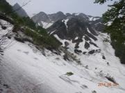登山断念地点・左奥が山頂