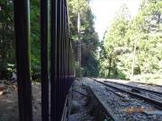 登山道脇のケーブルカーの線路
