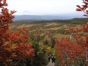 毛無岱木段から紅葉と岩木山眺望