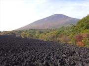 登山道脇から溶岩流と岩手山眺望