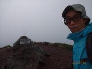 斜里岳山頂到着時は疲労気味