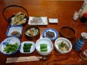 民宿駒口の夕食にサンショウウオ天麩羅